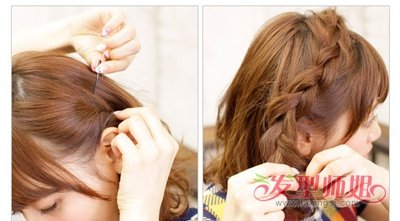 韩国短头发头顶上扎辫 韩式辫子发型扎法图片