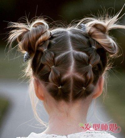 发型设计 儿童发型 >> 怎样为小孩的短发扎头发辫 2岁宝宝怎么扎竹节图片