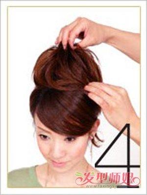 最简单日常盘发扎法步骤 中年妇女日常盘发(3)图片