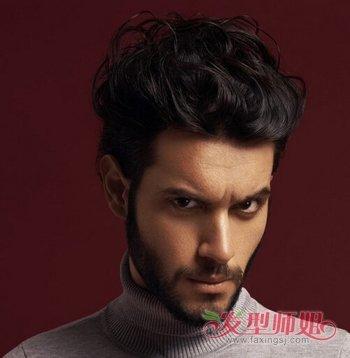 男生时尚短发背头发型图片