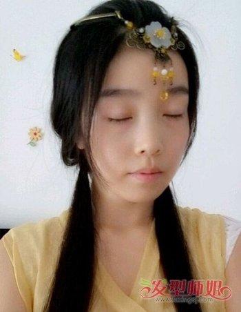 简单的古代少女发型 汉服简易古装发型图解(7)