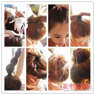 韩国女生中长直发丸子头扎发图解设计图片