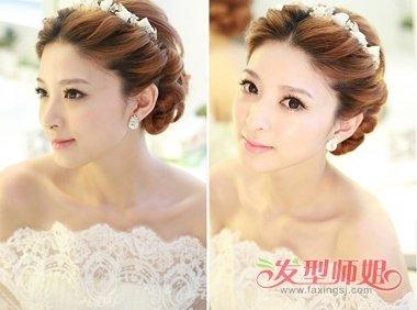 新娘长头发齐头帘发型扎盘法设计图片
