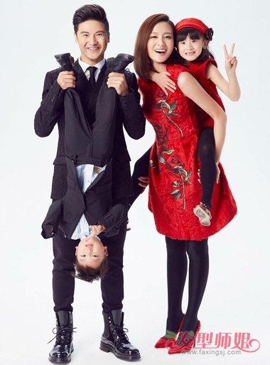 田亮叶一茜携子女拍新年写真 居家发型要有自己的风格
