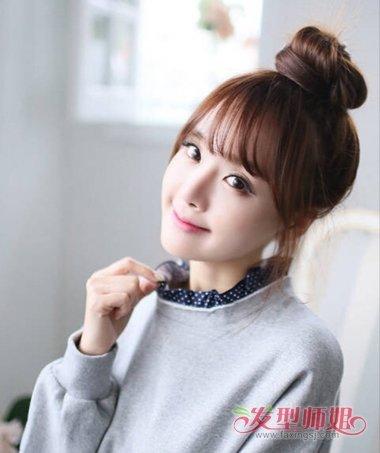 韩式齐刘海丸子头扎发发型 齐刘海如何扎丸子头图片