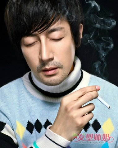 张鲁一成功男士大片 黑色短发用精神做造型