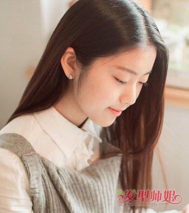 书卷气的女生梳发发型,将额头上的发丝制作成漂亮精致的梳发, 离子烫图片