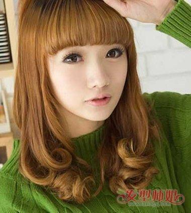 大学生发型内扣发型 女生内扣中长发型图片(3)图片