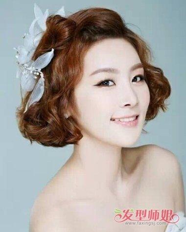 90后韩式婚纱发型 2018韩式新娘短发婚礼发型图片