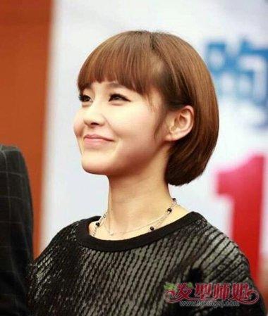 国民媳妇张佳宁短发发型 齐刘海最易衬托一脸正气 发型师姐