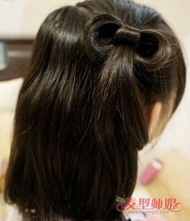 儿童蝴蝶结发型扎法图解7图片