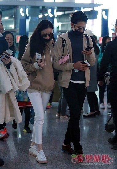 倪妮中长直发无刘海中分头造型设计-倪妮中分长发现身机场 甜蜜小女