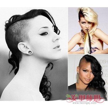 一边的头发是剃光后,显的更加大气时尚的女生发型,发际凸显女生的潮流图片