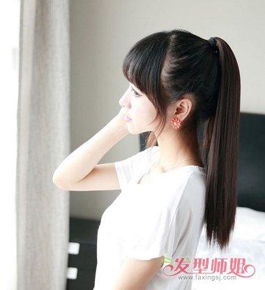 17岁少女中长直发蓬松扎马尾辫造型设计图片