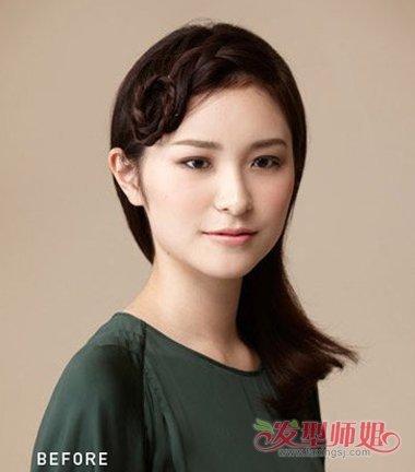 不要小看一款编刘海发型的魔力,圆脸女生的侧梳编刘海发型,后侧头发梳图片