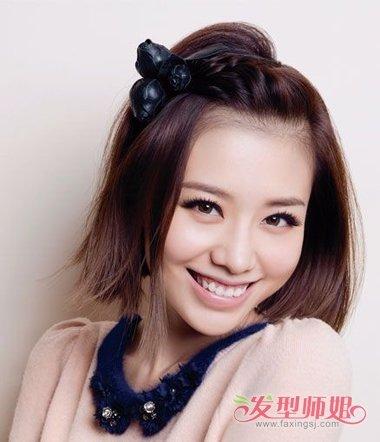 短发刘海怎样梳辫子 短发如何把刘海给扎起来(2)图片