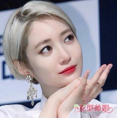 韩式偏分超短直发发型