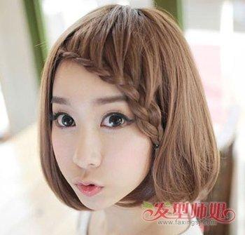 短刘海想露额头怎么梳 女生短刘海编发发型