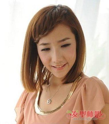 女生齐肩发刘海编发发型图片