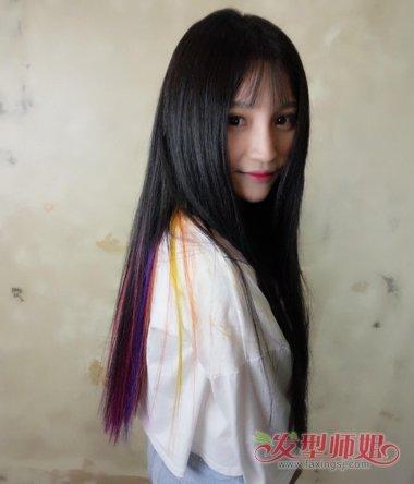 黑发挑染头发图片 头发染黑色太黑怎么办(3)图片