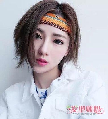 短头发怎么戴发带 短头发女生戴发带的图片图片