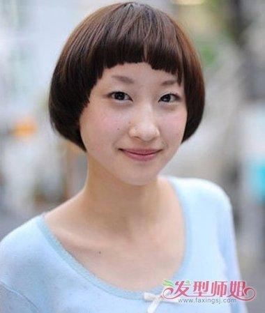 肥人短发发型图片 中间线中等短发发型(4)图片
