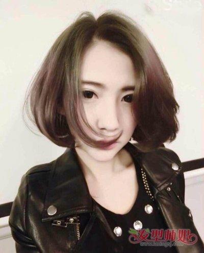 三七分斜刘海中短发发型图片