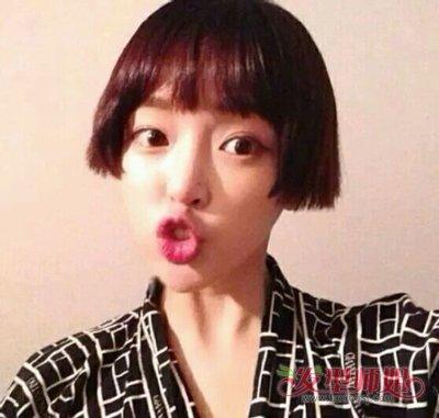 齐刘海长脸中短发发型图片