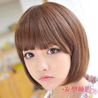 适合圆脸的学生剪的短发 脸圆的女孩剪什么短发好(2)图片