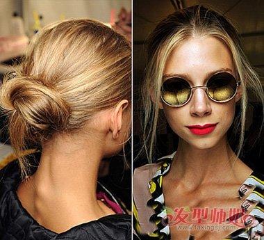 夏天女生中长发梳盘发造型设计图片