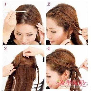 发型设计 >> 简单花式扎头步骤 学扎女孩花式辫子(4)  2018-03-01 08图片
