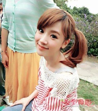 女生扎马尾刘海有哪些 简单中长刘海扎法(4)图片