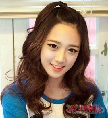 韩式苹果头扎发发型图片