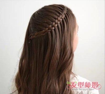 儿童长发编发发型图片