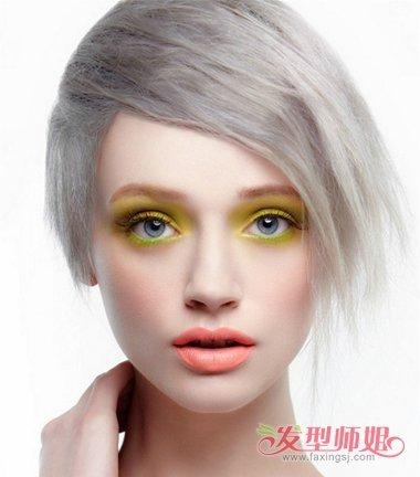女生灰色大偏梳沙宣短发发型