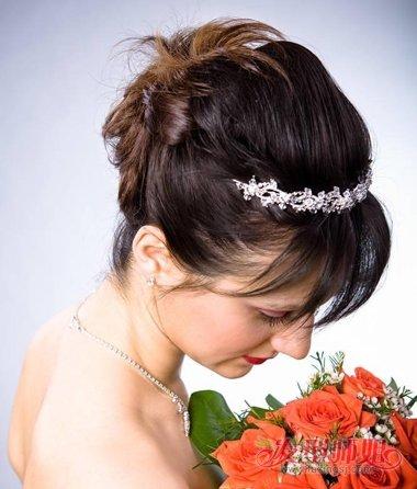 新娘空气刘海少发量盘发发型图片