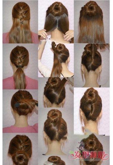 韩式简单编头发型步骤  五部完成的女生编发,可见是韩式风格的设计