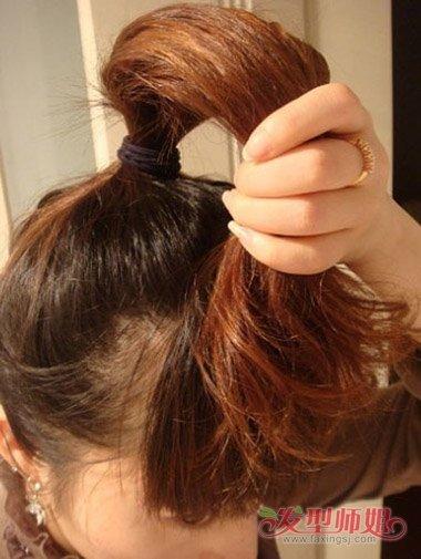 头发往中间塞 中长发韩式盘发怎么把头发塞进去图片
