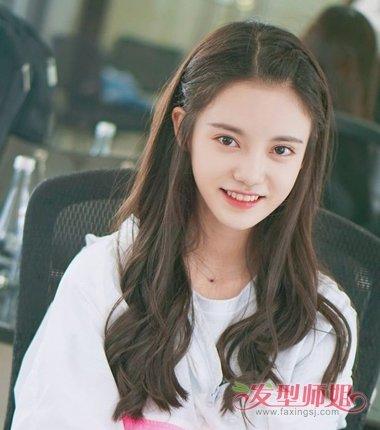 女生偏分刘海后编公主头发型图片