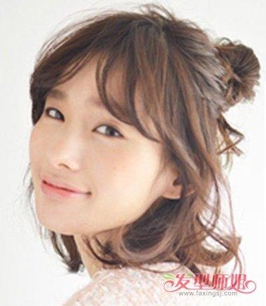 齐耳短发半丸子头图片 短发扎半丸子头的教程_发型师姐图片