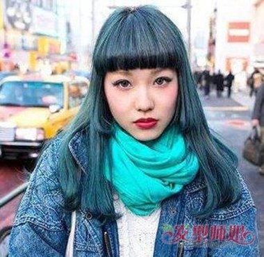 闷青色头发褪色后图片 黑色头发直接染闷青色