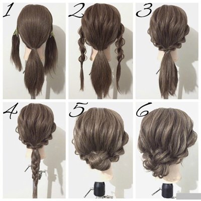 向上盘起来,调整的蓬松一些,就成了这款浪漫时尚的女生编发盘发发型图片