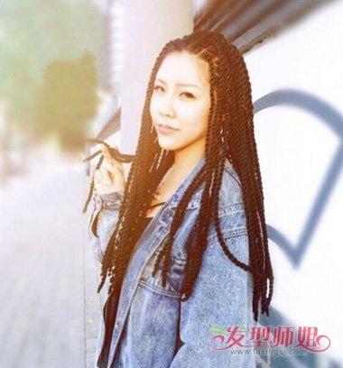 女生真头发编脏辫发型图片