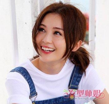 圆脸女生中分刘海低马尾辫发型图片