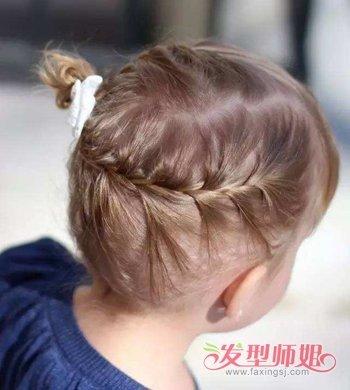 中短发小女孩 扎头发的时候,两边的头发以侧 蝎子辫方式向后延伸图片