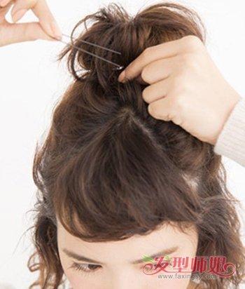 中短发女生半丸子头扎法图解 短发半丸子头教程_发型图片