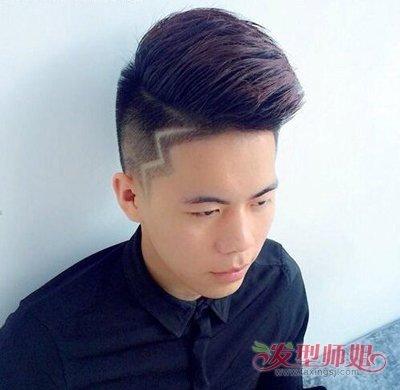刀疤头短发发型男闪电 男士个性刀疤寸头