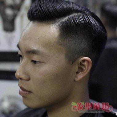 男士三七分斜背头梳发 怎么吹时尚发型图片