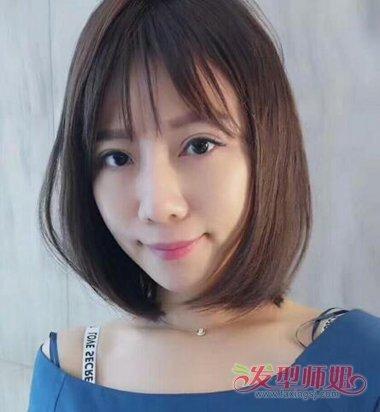 女生碎发刘海lob短发发型图片