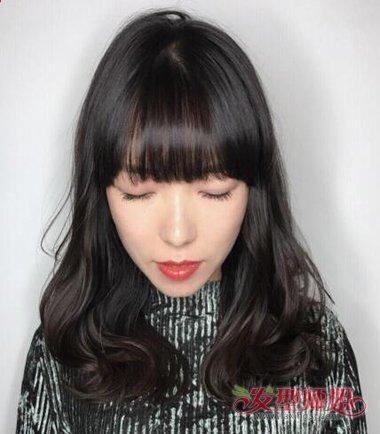 梨花头黑色发型图片 中长梨花头发型图片图片